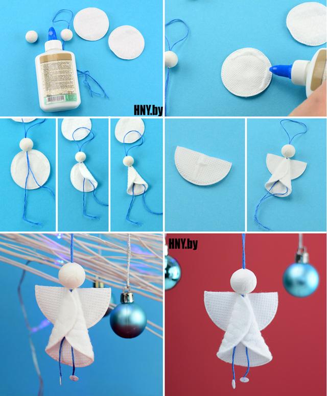 Ёлка и прочие поделки из ватных дисков на Новый год: простые мастер-классы
