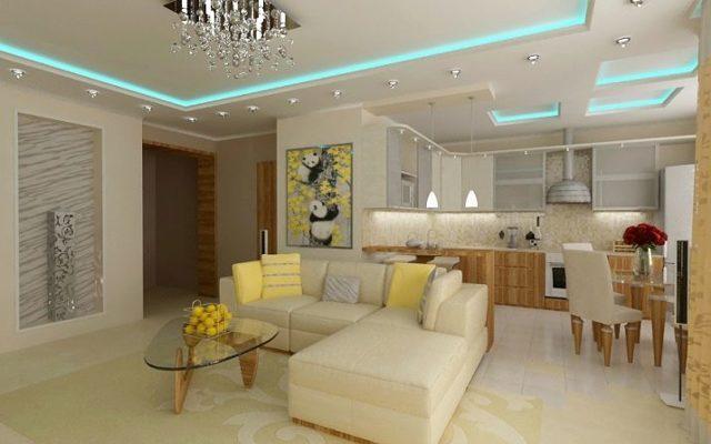 Гостиная, совмещенная с кухней: фото планировок, варианты зонирования