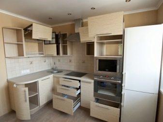 Угловой кухонный гарнитур: виды, размеры, угловое размещение
