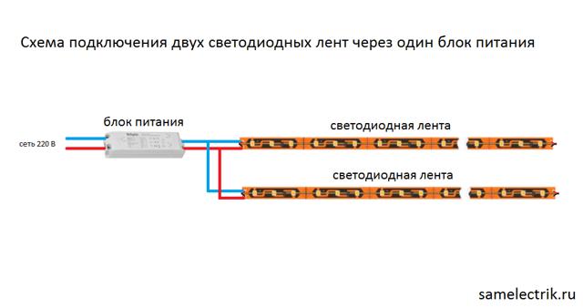 Схема подключения светодиодной ленты 220 В к сети своими руками
