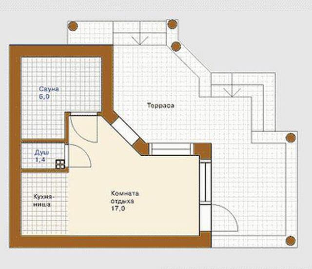 Проекты бани с комнатой отдыха и террасой: варианты