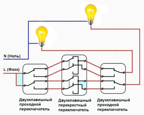 Проходной выключатель: схема подключения на 2 точки, выбор, цены